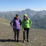Liis and Greta on top of Alazanistavi, the most remote mountain ridege in Tusheti (3,200 m).
